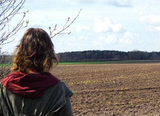 Diana schaut auf ein Feld